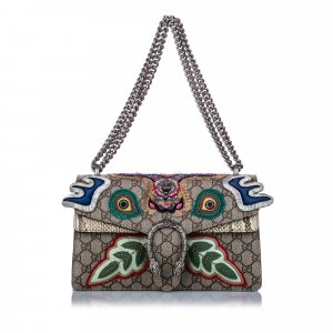Gucci Small GG Supreme Embroidered Dionysus Shoulder Bag