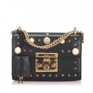 Gucci Small Studded Padlock Leather Shoulder Bag