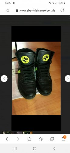Gucci Zapatillas altas negro-amarillo neón