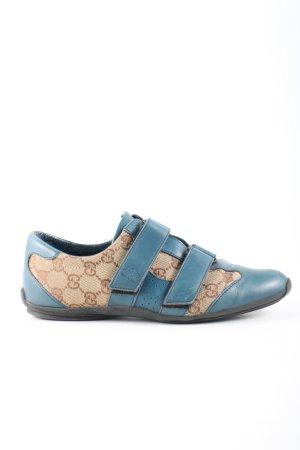 Gucci Sneaker Klettverschluss blau-creme Schriftzug gedruckt sportlicher Stil