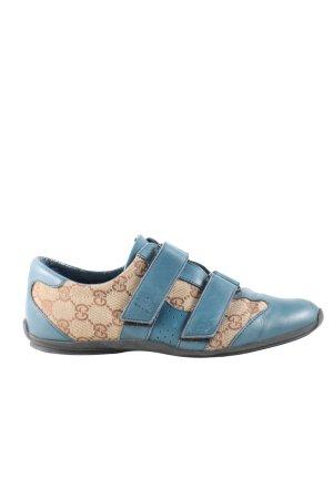 Gucci Trampki na rzepy niebieski-kremowy Wydrukowane logo Sportowy styl