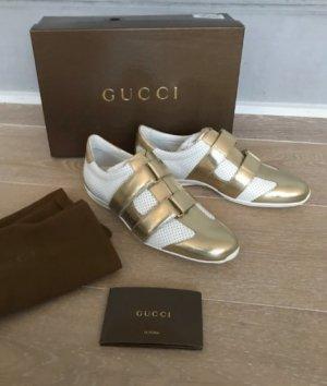 Gucci Klittenband Sportschoenen wit-goud