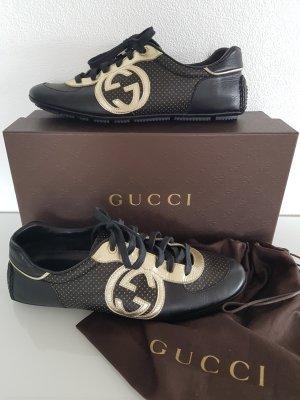 GUCCI Sneaker, schwarz / gold, Logo, Leder, Gr.37