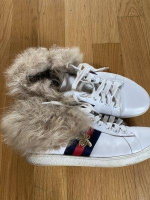 Gucci Sneakers met veters wit-grijs-bruin