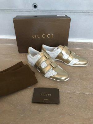 Gucci Basket velcro doré-blanc cuir