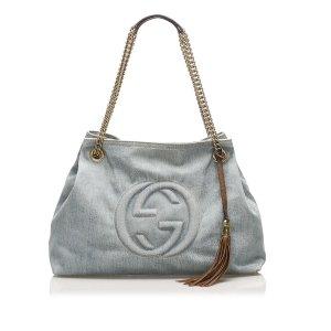 Gucci Torebka typu tote niebieski Bawełna