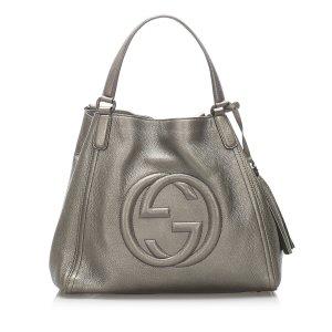 Gucci Sac fourre-tout gris clair cuir