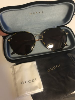 Gucci Occhiale da sole spigoloso marrone-oro