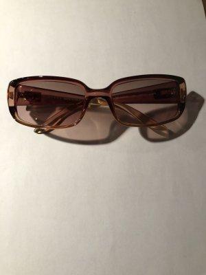 Gucci Occhiale da sole ovale bianco sporco-color oro rosa Tessuto misto