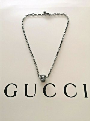 GUCCI SQUARE CUBE NECKLACE SILVER WITH CRYSTAL SIZE 42 - 45 cm
