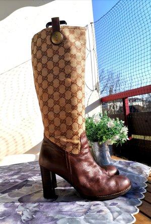 Gucci Stivale con tacco marrone-cognac
