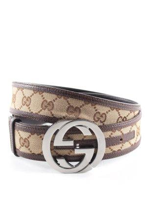 Gucci Stoffgürtel braun-wollweiß abstraktes Muster Business-Look