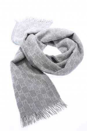 Gucci Knitted Scarf light grey printed lettering casual look
