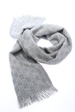 Gucci Écharpe en tricot gris clair lettrage imprimé style décontracté