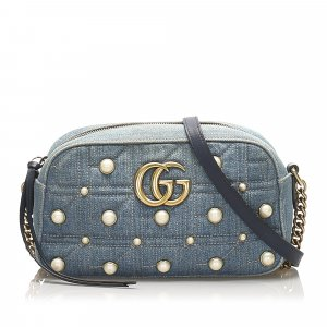 Gucci Studded GG Marmont Denim Crossbody
