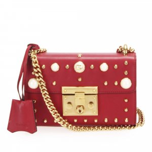 Gucci Studded Padlock Leather Crossbody Bag