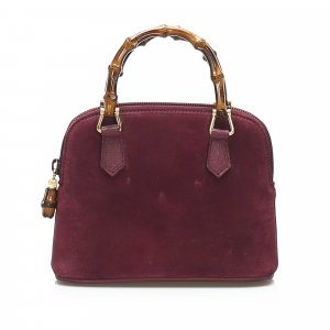 Gucci Suede Bamboo Satchel