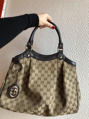 Gucci Sukey Handtasche in beige Leinen