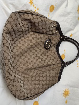 Gucci Handtas camel-donkerbruin