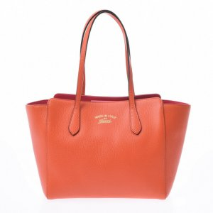 Gucci Borsa larga arancione Pelle