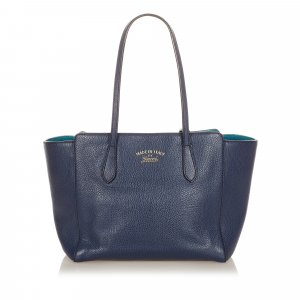 Gucci Tote donkerblauw Leer