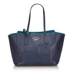 Gucci Borsa larga blu Pelle