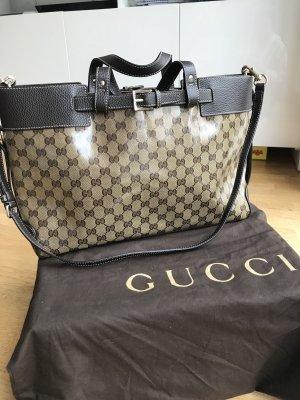 Gucci Torba shopper camel-czarno-brązowy
