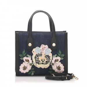 Gucci Tiger Embroidered Denim Satchel