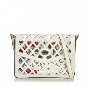 Gucci Traforata Cutout Flora Leather Crossbody Bag
