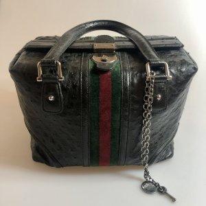 Gucci Treasure Bag aus schwarzen Straußenleder