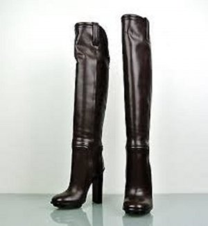Gucci Overknees dark brown leather