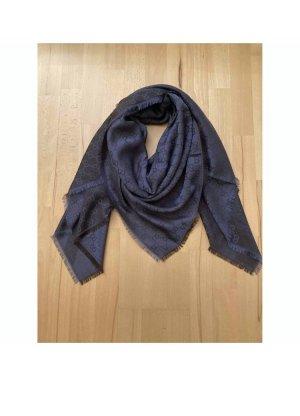 Gucci Bufanda de lana marrón oscuro-azul oscuro