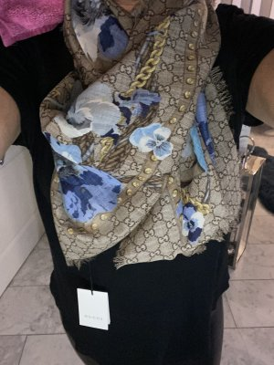 Gucci Bufanda de lana beige-azul