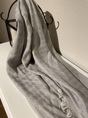 Gucci Châle au tricot gris clair soie
