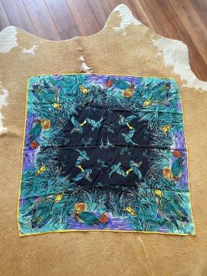 Gucci Tuch Halstuch Seidentuch Ente floral bunt Blau 80x80cm