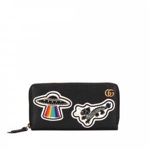 Gucci UFO and Chinese Dragon Zip Around Leather Wallet