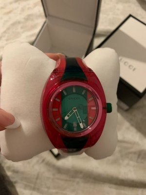 Gucci Watch With Metal Strap pink-forest green
