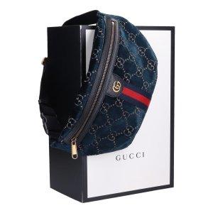 Gucci Velvet Beltbag Bauchtasche Tasche aus Samt in dunkelblau mit Box