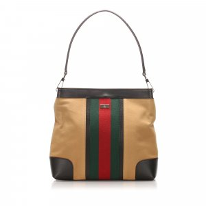 Gucci Web Canvas Shoulder Bag