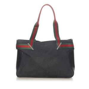 Gucci Web Denim Tote Bag