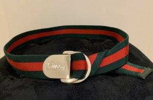 Gucci Ceinture en tissu vert foncé-rouge