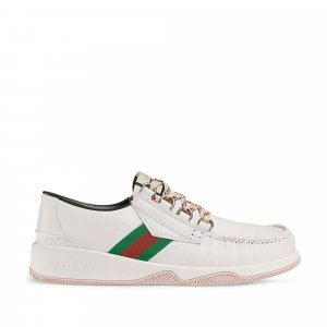 Gucci Web Lace-Up Leather Sneakers