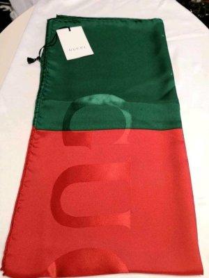 Gucci Foulard en soie rouge brique-vert forêt