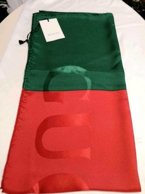 GUCCI WEB MOTIF SCARF TUCH SETA RED GREEN NEW