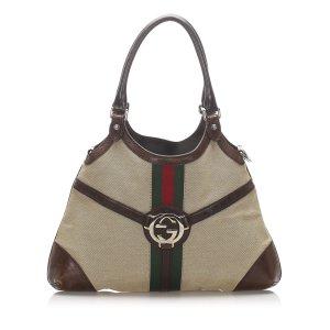 Gucci Web Reins Canvas Shoulder Bag