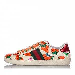 Gucci Web Strawberry Ace Leather Sneaker