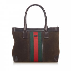 Gucci Web Suede Tote Bag