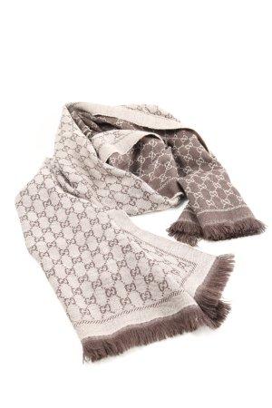 Gucci Bufanda de lana gris claro estampado repetido sobre toda la superficie