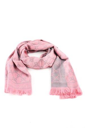 Gucci Écharpe en laine rose-gris clair imprimé avec thème style d'affaires