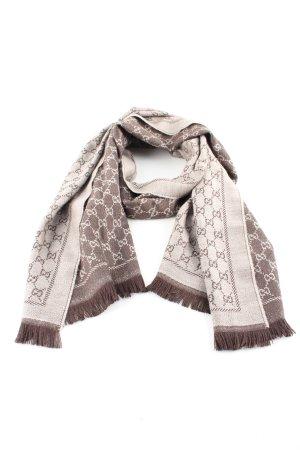 Gucci Écharpe en laine brun-blanc cassé imprimé avec thème